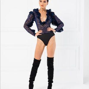 Long Sleeve Bodysuit ruffles leopard print